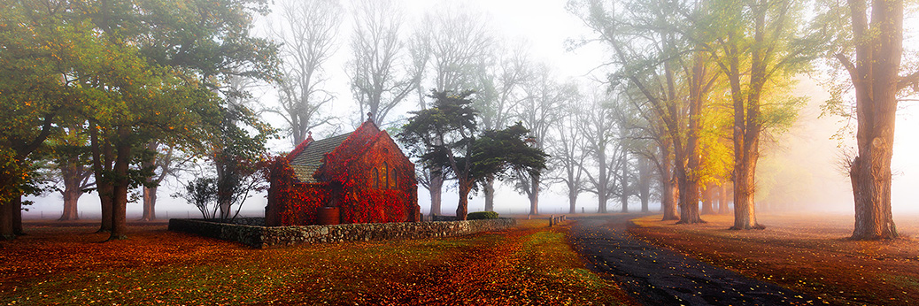 Gostwyck Chapel in Fog